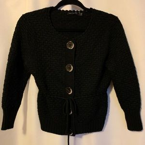 Limited Cropped Black Cardigan With 3/4 Sleeves
